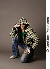 Young guy - Casual cool young guy wearing a hood