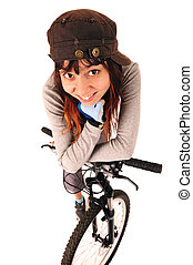 Woman bicyclist isolated on white - Funny portrait of young...