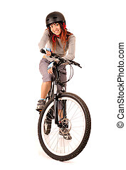 woman bicyclist - Young smiling woman bicyclist isolated on...