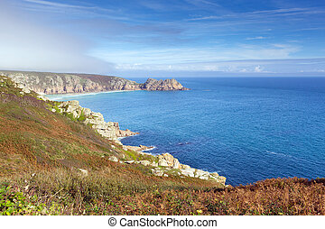 Autumn mist and blue sky Cornwall - Coast of Cornwall...