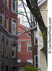 New England Architecture - Brick condominiums, steepled...