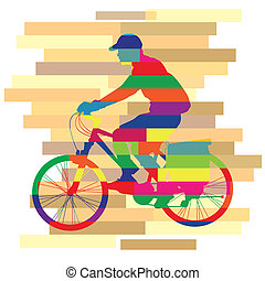 colorful of ride Bicycle Vector on a background