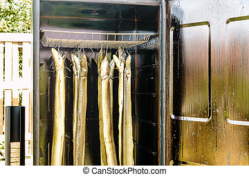 Smoking eel in a smoker Door open