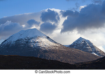ruadh-stac mor - Two snowy Scottish peaks in evening...