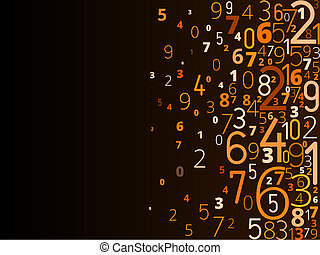 Vector background from numbers - Vector yellow orange...