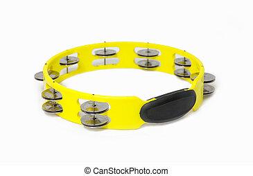 tambourine  - yellow plastic tambourine on white background