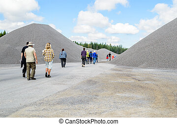 Excurtion in gravel pit - Stones and gravel in quarry
