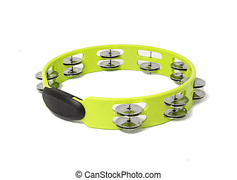 tambourine  - green plastic tambourine on white background