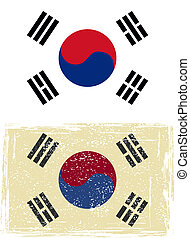 South Korean grunge flag. Vector