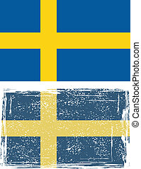 Swedish grunge flag. Vector illustration.