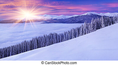Panorama of the winter mountains in morning mist