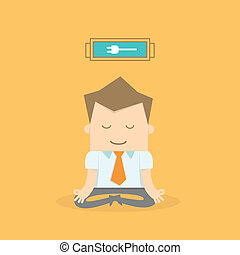 business man meditating to recharge and relax