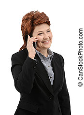 Business woman talk on the phone - Business woman smile and...