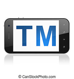 Law concept: Trademark on smartphone - Law concept:...