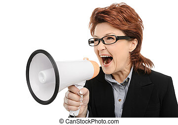Businesswoman screaming through megaphone