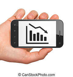 Business concept: Decline Graph on smartphone - Business...