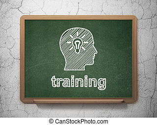 Education concept: Head With Light Bulb and Training on...