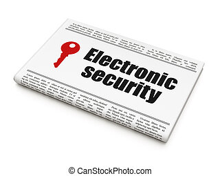 Security news concept: newspaper with Electronic Security and Key