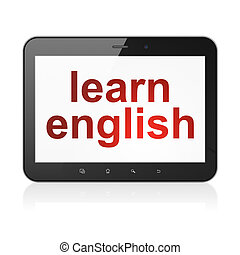 Education concept: Learn English on tablet pc computer -...