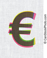 Currency concept: Euro on fabric texture background