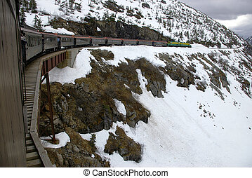 The White Pass & Yukon Route train crossing a trestle on the...
