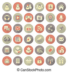 Modern Flat Social Networking Icons