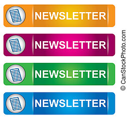 Newsletter banner set with letter sign and text