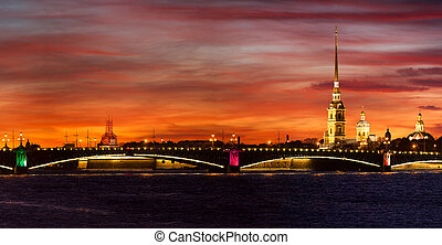 Beautiful red sunset with Peter and Paul fortress in...