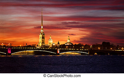 The Peter and Paul Cathedral and fortress with Trinity...