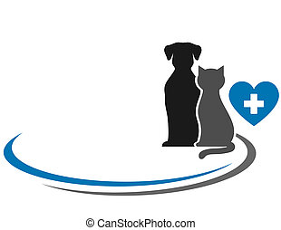veterinary symbol with blank place and pets silhouettes