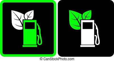 sign with green gas station - two signs with green gas...