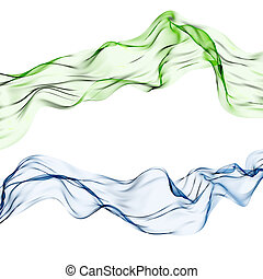 Silk scarf - Two delicate silk materials in green and blue