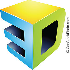 3d Display Technology Symbol - Illustration of 3d Display...