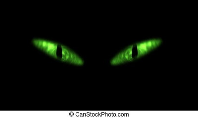 Animation of green cat eyes blinking