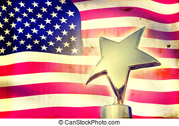 Gold star award against vintage USA flag