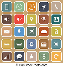 Mobile phone flat icons on brown background, stock vector