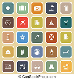 Summer flat icons on brown background, stock vector