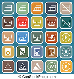 Laundry flat icons on blue background, stock vector