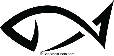 Black Line Fish Icon