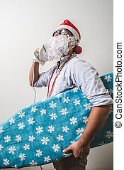 funny santa claus babbo natale ironing surfer on white...