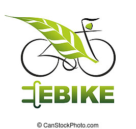e-bike - simplified illustration of an e-bike with plug