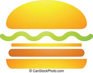 rapidamente, alimento, hambúrguer, ícone