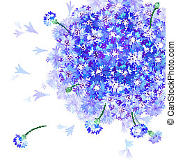 bluebottle blooming - Vector greeting card with gentle...