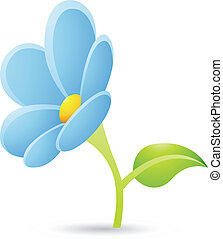 Light Blue Flower Icon - Illustration of Light Blue Flower...