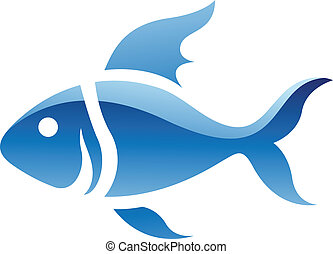 Blue Fish Icon - Illustration of Blue Fish Icon isolated on...
