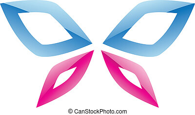 Blue and Pink Butterfly Icon - Illustration of Blue and Pink...