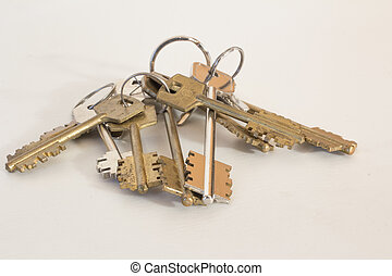 isolated object. - Keys to the castle on a white background...