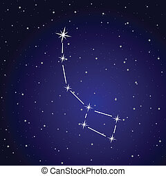 Print - Vector illustration of ursa minor constellation and...