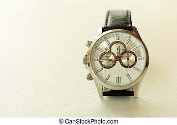 isolated object. - Wristwatch with kozhennym strap on a...
