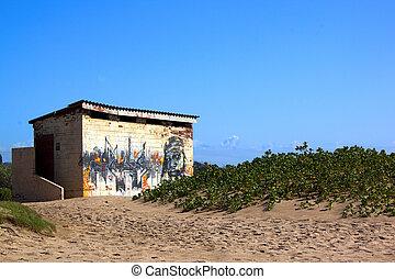 Public Toilet on Sand Dune at Beach